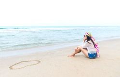 Fashion woman relax on the beach. White sand, blue cloudy sky Stock Photography