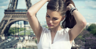 Fashion woman. In romantic city Stock Images
