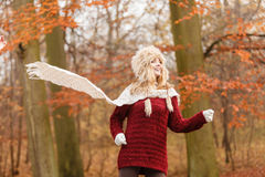 Fashion woman running in fall autumn park forest. Stock Image