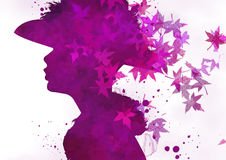 Fashion woman's face. Autumn illustration Royalty Free Stock Images