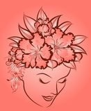 fashion woman's face with flowers. Royalty Free Stock Photos