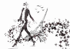 Fashion woman's face. The girl goes down the street Paris. Fall vector illustration