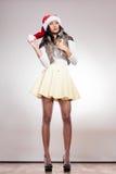 Fashion woman in santa helper hat Stock Photo