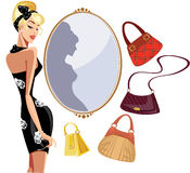 Fashion woman in shop bags Royalty Free Stock Images