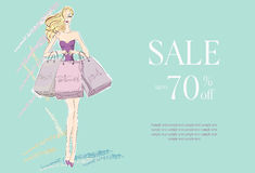 Fashion woman with shopping bags Royalty Free Stock Photos