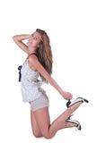 Fashion woman in shorts and polka dot blouse Royalty Free Stock Photos
