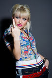 Fashion woman showing middle finger Royalty Free Stock Photos
