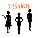 Fashion woman silhouette with different hairstyle Stock Photos