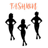 Fashion woman silhouette in different poses Stock Images