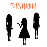Fashion woman silhouette with long hairstyle Stock Photo