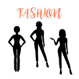 Fashion woman silhouette in suits Stock Images