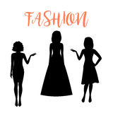 Fashion woman silhouette in summer dresses Stock Photo