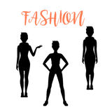 Fashion woman silhouettes in different poses Stock Photography