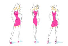 Fashion woman sketch pink dress design set vector Stock Photos