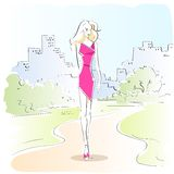 Fashion woman sketch pink dress outdoor vector Stock Photo