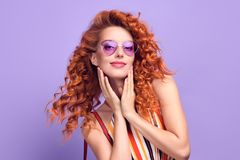 Fashion Woman Smiling in Summer Outfit on Purple royalty free stock photography