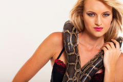 Fashion woman snake Royalty Free Stock Image