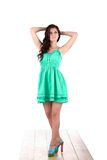 Fashion woman standing  in green dress Stock Images