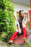Fashion woman on street Royalty Free Stock Photos