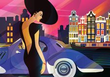 Fashion woman in style pop art in Amsterdam. Vector illustration royalty free illustration