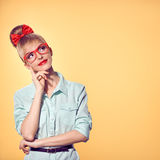 Fashion. Woman in stylish Glasses Having Fun, Nerd Royalty Free Stock Images