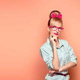 Fashion. Woman in stylish Glasses Having Fun, Nerd Royalty Free Stock Photography