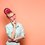 Fashion. Woman in stylish Glasses Having Fun, Nerd Stock Image