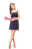 Fashion woman in summer dress and high heels Royalty Free Stock Photo