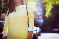 Fashion woman with the sun in the back. royalty free stock images