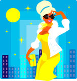 Fashion woman on sun city background. Vector fashion woman in yellow dress on sun city background.One of series Cartoon illustration in pin-up retro style royalty free illustration