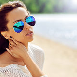Fashion woman in sunglasses - close up royalty free stock images
