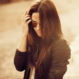 Fashion woman in sunglasses - closeup. Fashion woman in sunglasses - close up Royalty Free Stock Images