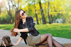 Fashion woman in sunglasses - outdoor portrait. Fashion woman in sunglasses - outdoor Royalty Free Stock Image