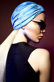 Fashion woman in sunglasses, studio shot. Professional makeup an. Close-up portrait of beautiful and fashion woman in sunglasses, studio shot. Professional Royalty Free Stock Photo
