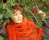 Fashion woman on sunny autumn background Royalty Free Stock Photography