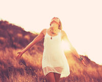 Fashion Woman at Sunset Royalty Free Stock Image