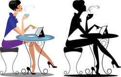 Fashion woman at table with tablet, and her silhouette Royalty Free Stock Images