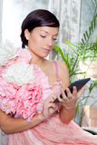 Fashion woman and tablet ebook reading Stock Photos