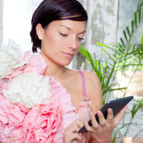 Fashion woman and tablet ebook reading Stock Photo