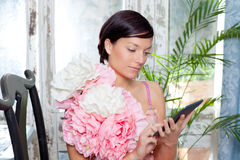 Fashion woman and tablet ebook reading Royalty Free Stock Photo