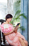 Fashion woman and tablet ebook reading Stock Image