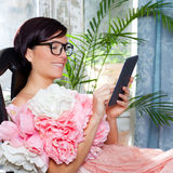 Fashion woman and tablet ebook reading Stock Images