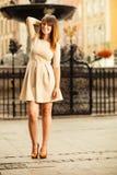 Fashion woman tourist outdoor on city street Royalty Free Stock Photos