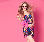 Fashion woman in Trendy Spring Summer Flower Dress Stock Photos