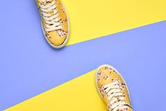 Fashion Woman Trendy Trainers. Minimal Concept. Fashion Woman Trendy Trainers. Stylish Hipster Set. Bright Yellow Color. Minimal concept. Summer Floral Sneakers royalty free stock photos