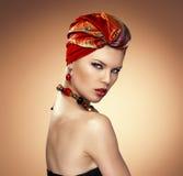 Fashion woman in turban Stock Image