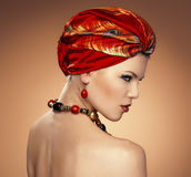 Fashion woman in turban Stock Photo