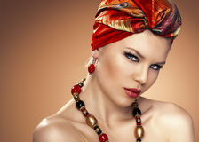 Fashion woman in turban Royalty Free Stock Images