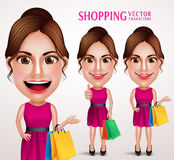Fashion Woman Vector Character Holding Shopping Bags Wearing Pink Stock Photo