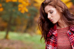 Fashion woman walking in autumn park Stock Image